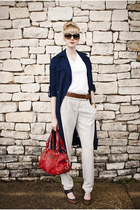 navy trench talbots coat - red Michael Kors bag - off white silk Moda by Victori