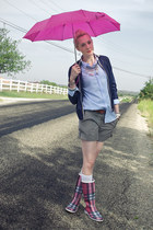 hot pink rain Burberry boots - navy rain Old Navy jacket - periwinkle oxford Old