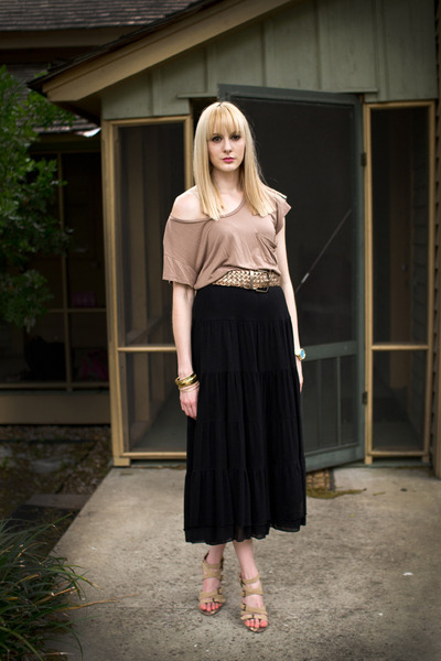 light brown Forever 21 t-shirt - black maxi Wet Seal skirt