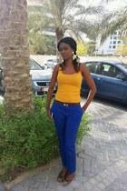 ankle length Forever 21 pants - gold H&M earrings - violet Koton vest