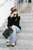black clutch JJ Winters bag - black street style wonderland sunglasses