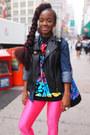 Hot-pink-nylon-american-apparel-leggings-black-graphic-the-hundres-shirt