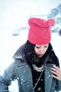 Charcoal-gray-zebra-print-club-monaco-coat-red-beanie-gap-hat