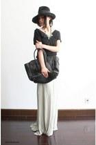 black mini luggage Celine bag - heather gray fishtail jersey Rick Owens skirt