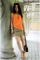 tan cargo vince skirt - dark brown constance Hermes bag - orange SKIIN top