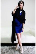 tan wedge Camilla Skovgaard boots - blue asym Bordeaux dress