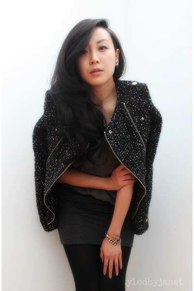 dark gray tweed moto Zara jacket - charcoal gray lizzard ankle alaia boots