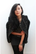 dark gray tweed moto Zara jacket - charcoal gray lizzard ankle alaia boots
