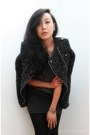 Charcoal-gray-lizzard-ankle-alaia-boots-dark-gray-tweed-moto-zara-jacket