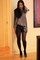 heather gray H&M sweater - black Twenty8Twelve shorts - black BCBG accessories -