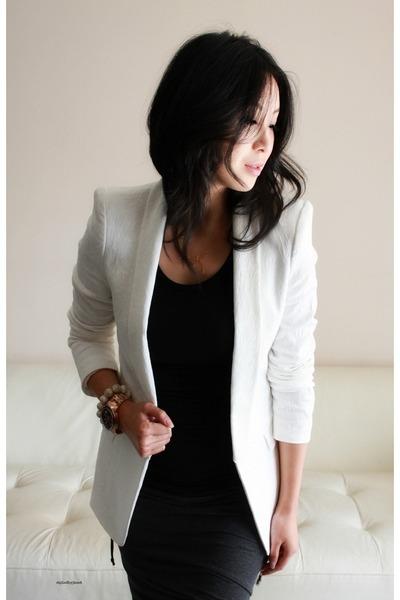 white tuxedo jacket Zara blazer - navy twisted ruched Alexander Wang skirt