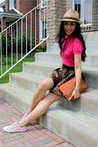 salmon clutch Zara purse - light pink Converse sneakers - brown leopard print Za
