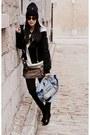 Black-alexander-wang-coat-navy-tuque-prada-hat-blue-pierre-hardy-bag