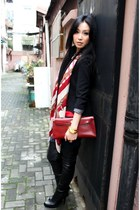 black tailcoat Zara jacket - ruby red kelly clutch Hermes bag
