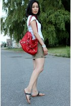 red city balenciaga bag - white America  Eagle t-shirt - camel cargo vince skirt