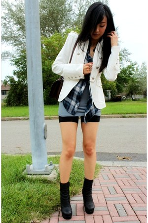 white military Zara jacket - black wedge ankle acne boots - navy plaid H&M shirt