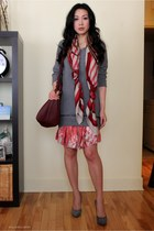 heather gray Zara sweater - brick red cashmere Hermes scarf - crimson daria Alex