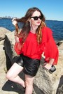Black-tart-shorts-celine-sunglasses-red-sugarlips-blouse