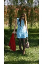 blue Urban Outfitters dress - brown Nine West boots
