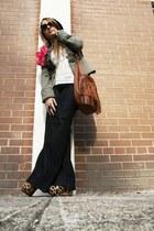 navy Hudson jeans - green sweet romeo jacket - ivory Topshop top
