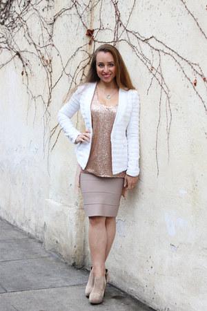 beige suede Zara boots - white BCBGMAXAZRIA jacket - tan BCBGMAXAZRIA skirt