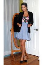 black Forever 21 blazer - Urban Outfitters shirt - blue Zara skirt - black Urban