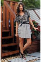 black Forever 21 blouse - silver Zara skirt - black Spring Shoes shoes - black F