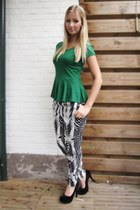 green H&M top - H&M pants - black cafe moda heels