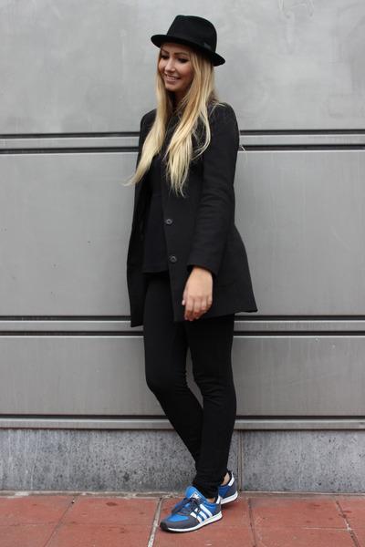 black H&M coat - black H&M hat - blue Adidas sneakers