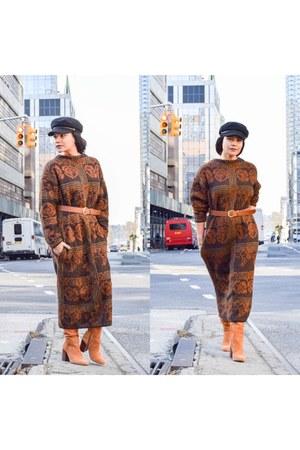 burnt orange wool vintage dress