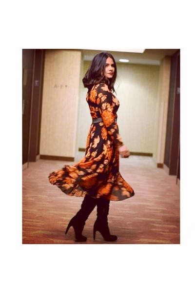 orange floral pleated Topshop dress