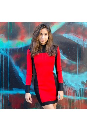 red sweater dress H&M dress