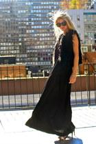 faux fur Joe Fresh vest - H&M dress