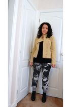 beige Kate Moss for Topshop jacket - Dorothy Perkins jeans - black Topshop boots