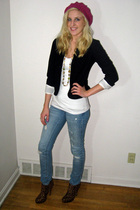 hat - thrifted blazer - Forever 21 t-shirt - american eagle outfitters jeans - s