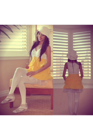 white Delicia dress - white Chinese Laundry hat - yellow Bebe skirt