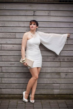 white softies Bershka shoes - asos dress - beige bag - golden gold Primark bag