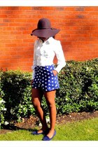 blue own design shorts - crimson hat hat accessories - navy shoes Clarks loafers