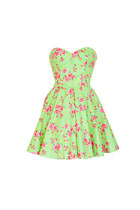 Green Floral vintage Style Party Dress