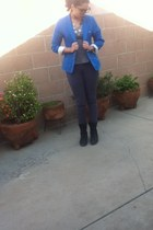 blue Forever 21 blazer - black Cathy Jean boots - Gap jeans - Jcpenny shirt