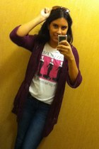 barbie Charlotte Russe shirt - American Eagle jeans - maroon cardigan