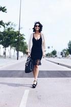black woman secret dress - camel Mi & Co sweater - black Marks & Spencer bag