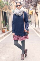 French Connection boots - indi & cold dress - Vila scarf - indi & cold bag