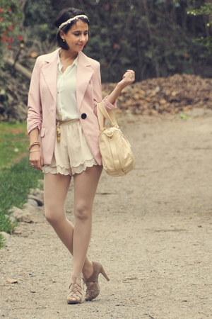 H&M shorts - pale pink Bohem blazer - leather Marc by Marc Jacobs bag