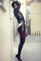 zalando skirt - Forever 21 jacket - zalando t-shirt - cat loafers zalando flats