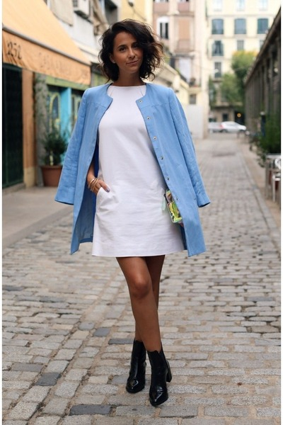 black charol Zara boots - white Zara dress - sky blue Zara jacket
