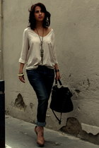 blouse Zara top - boyfriend jeans Levis jeans - satchel Urbaks bag