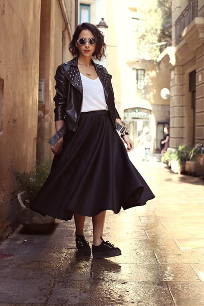 black midi asos skirt - black flatforms Superga sneakers