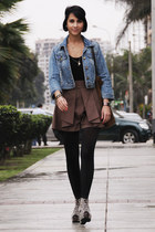 denim Forever21 jacket - suede Zara bag - high waisted shorts - leopard catu sho