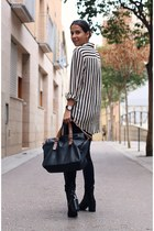 charol Zara boots - panel Zara pants - striped xxx blouse